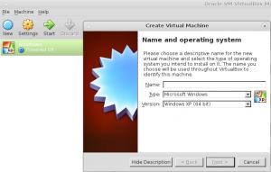 """Haz clic en el botón """"Nuevo o New"""" Elije el sistema operativo y el nombre para tu equipo."""
