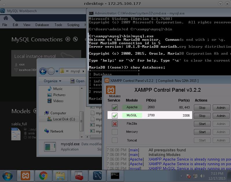 En realidad XAMPP utiliza María DB y no MySQL