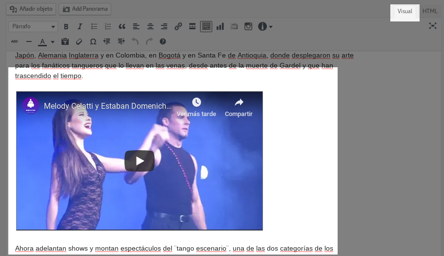 Video insertado en el editor WordPress