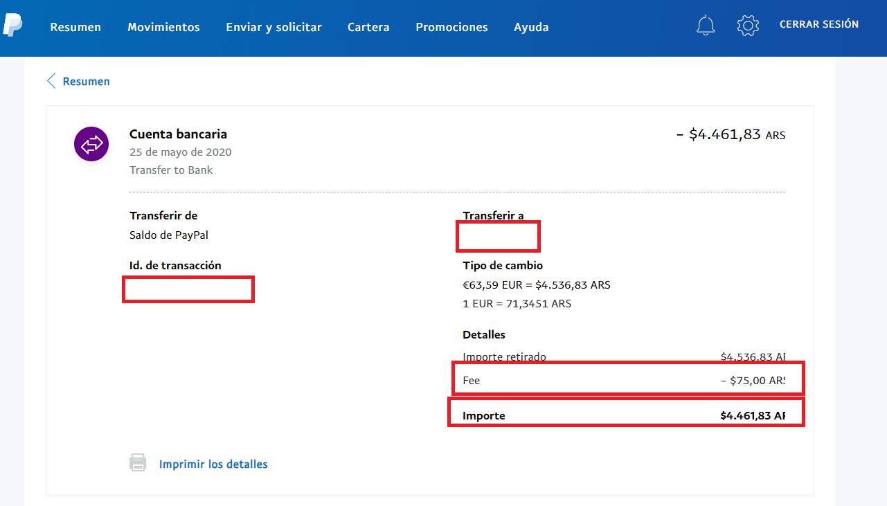 Transferencia Saldo paypal cuenta argentina